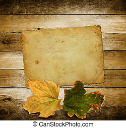 helder, autumn leaves, op, de, houten, achtergrond