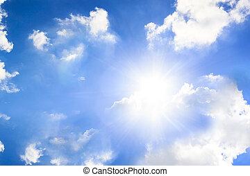 helder blauw, hemel, met, de, zon