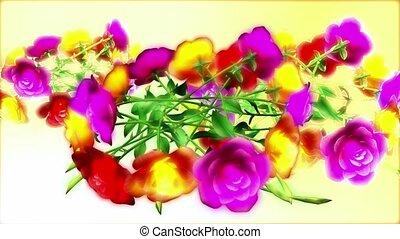 helder, gekleurde, bloemen