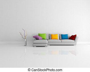 Levend, minimalist, kamer, gekleurde. Gekleurde, moderne,... beeld ...