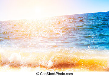 helder, gloeiend, oceaan, oppervlakte