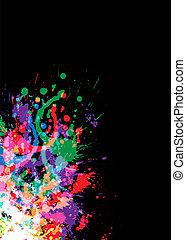 helder, kleurrijke, splat, inkt