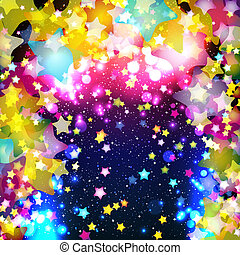 helder, kleurrijke, vliegen, sterretjes, op, een,...
