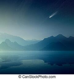 helder, komeet, en, sterretjes, in, donker blauw, hemel, silhouettes, van, bergen, weerspiegelde in, een, kalm, zee