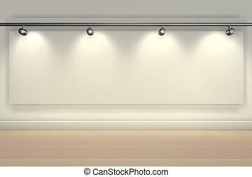 helder, kopie, schijnwerpers, ruimte, muur, lit, vertolking, leeg, -3d