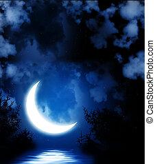 helder, maan, weerspiegelde in, water