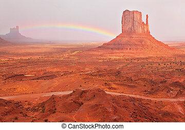 """helder rood, """"mitts"""", en, een, het glanzen, regenboog"""