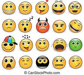 helder, set, emoties, gele, ronde