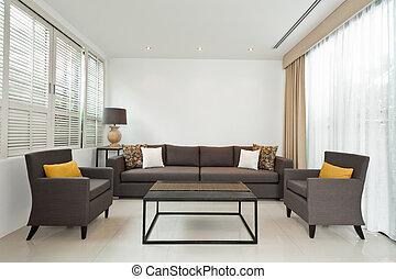 helder, sofa, levend, grijze , kamer