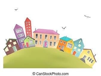 helder, spotprent, huisen, op, een, heuvel