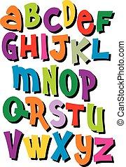 helder, spotprent, komisch, graffiti, font., editable, vector, alfabet