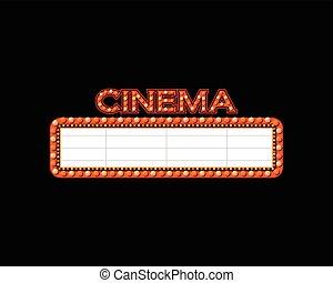 helder, theater, bioscoop, buitenreclame, gloeiend, retro