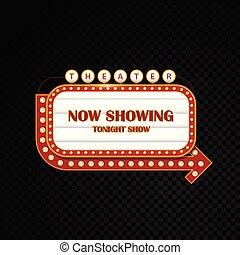 helder, theater, goud, bioscoop, motel, buitenreclame, gloeiend, retro