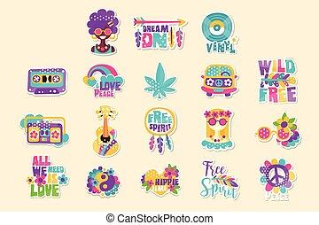 helder, vector, hippy-themed, illustratie