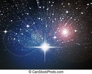 helder wit, ster, in, ruimte