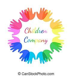 heldere kleur, kinderen, handen samen, in vorm, van, circle.