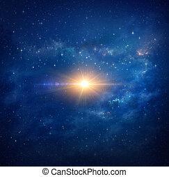 heldere ster, in, buitenste ruimte
