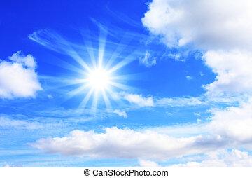heldere zon, in, de, blauwe hemel
