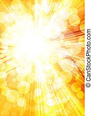 heldere zon, in, een, gouden achtergrond