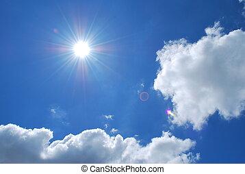 heldere zon, met, blauwe hemelen, en, wolken