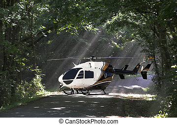 helecopter in woods - helecopter made emergency landing in...