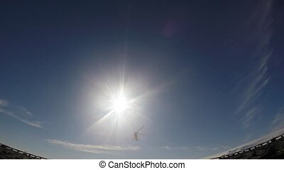 Helecopter landing on the deck travel to Arctic on the...