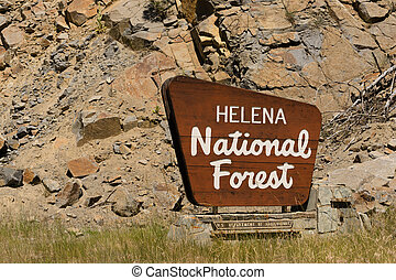 Helena National Forest Sign US Department of Agriculture