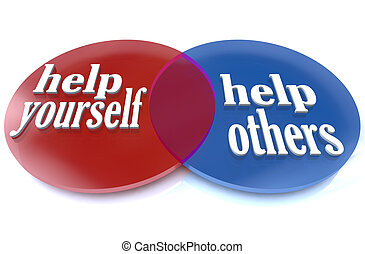 A venn diagram shows two intersecting circles, demonstrating the benefits that you and others can experience by donating your time and efforts to a worthy cause