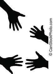 helfende hand, karten geben, gemacht