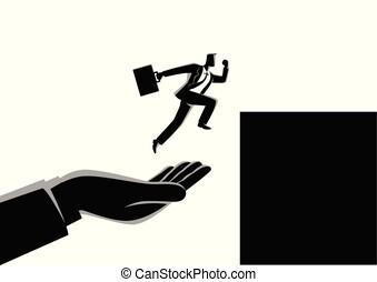 helfende hand, springen, arbeitsbühne, geschäftsmann, höher