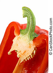 helft, capsicums, rood, knippen