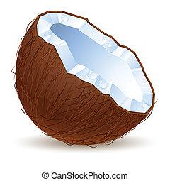 helft, een, cocosnoot