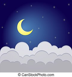 helft, midnight., wolken, sterretjes, maan