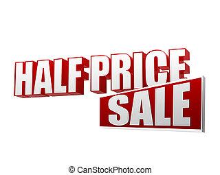 helft, prijs, verkoop, in, 3d, brieven, en, blok