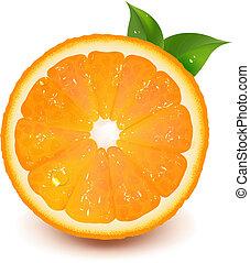 helft, van, sinaasappel, met, blad, en, waterdaling