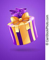 helgdag, gåva, med, guld remsa