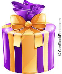 helgdag, gåva, med, guld remsa, isolerat