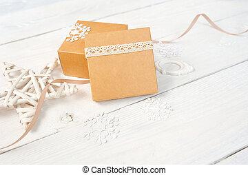 helgdag, gåva, mockup, trä, text, utrymme, jul, rutor, bord, bakgrund, vit, avskrift, din