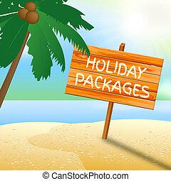helgdag, packen, indikerar, fullständigt, inklusive, semester, turnerar