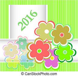 helgdag, sätta, blomningen, inbjudan, år, färsk, 2016, julkort
