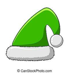 helgdag, vektor, pom-pom., älva, isolerat, mössa, vit jul, ...