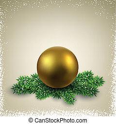 helgdagsafton, boll, branches., jul, gyllene