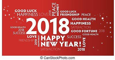 helgdagsafton, -, nytt år, år, vykort, röd, lycklig, 2018