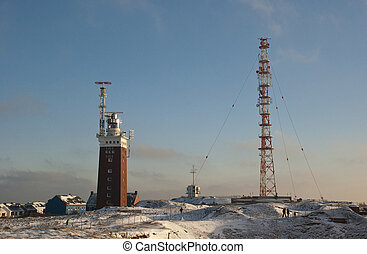 The lighthouse of Helgoland in snow