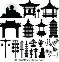 helgongrav, lämning, asiat, kinesisk, tempel