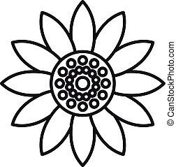 helianthus, icono, contorno, estilo, flor