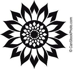 helianthus, icono, estilo, flor, simple