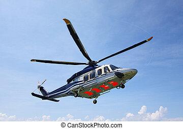 helicóptero, aterrizaje, estacionamiento