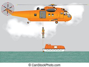 helicóptero, búsqueda, rescate