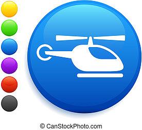 helicóptero, botão, ícone, redondo, internet